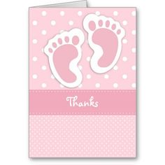 Brown pink baby feet thank you card