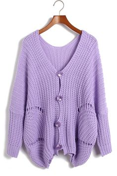 Loose Batwing Sleeve Button-up Cardigan