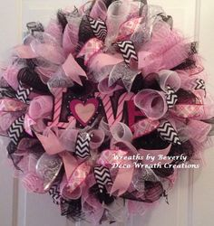 """Black and Pink Valentine's Day """"Love"""" Wreath by decowreathcreations. Explore more products on http://decowreathcreations.etsy.com"""