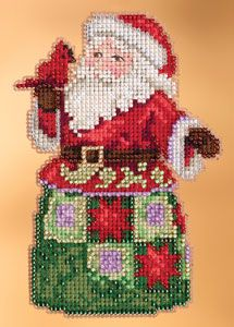 """FESTIVAL FRIENDS SANTA (JS20-3106) Kits Include: Mill Hill Glass Beads, Mill Hill Perforated or Painted Perforated Paper, floss, needles and instructions.  Approximate Design Size: 3.125"""" x 5"""""""