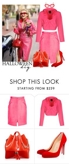"""""""DIY Halloween Costume - Elle Woods"""" by serrotonin ❤ liked on Polyvore featuring Stephen Sprouse, Pinko, Kartell, Christian Louboutin and Cutler and Gross"""