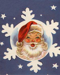 Santa has a blue, blue Christmas :) - Christmas Cards Christmas Past, Blue Christmas, Retro Christmas, Christmas Greetings, Christmas Ornaments, Father Christmas, Christmas Decor, Christmas Mantles, Christmas Villages