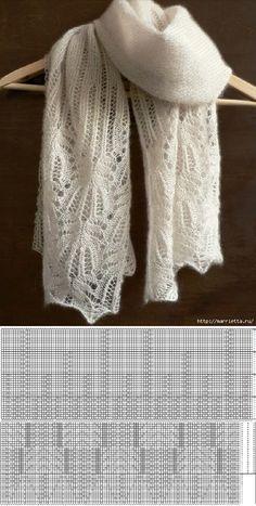 marrietta.ru Knitting Stiches, Lace Knitting, Knitting Patterns Free, Knitted Shawls, Crochet Shawl, Wire Crochet, Summer Knitting, Shawl Patterns, Knitting Accessories