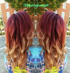 Ombre burgundy blonde dyed hair