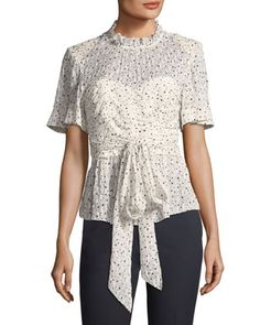 Short-Sleeve+Tie-Waist+Star-Print+Blouse+by+Rebecca+Taylor+at+Neiman+Marcus.