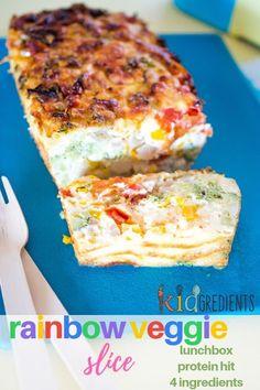 Rainbow veggie slice, gluten free and packed full of veggies. It's also freezer friendly and super yummy. #kidgredients #kidsfood #glutenfree #lunchbox #recipe #veggies