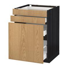 METOD Base cabinet/p-out storage/drawer Black/ekestad oak IKEA Base Cabinets, Kitchen Cabinets, Bodbyn Grey, Ikea, Affordable Furniture, Storage Drawers, Home Furnishings, Outdoor Furniture, Decoration