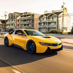 i8 Rollers.  #BMW #i8 #i12 #edrive #hybrid #supercar #futurecar #cartocar #forgeline #turnermotorsport #turnerparts #bmwgram #bmwpic #bmwnation #bmwlove #bimmer #rolling #hrsprings #bmwperformance  Photo courtesy of @phitted_jake by turnermotorsport