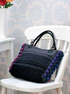 Funky felted bag - free knitting pattern to download over the Let's Knit website!