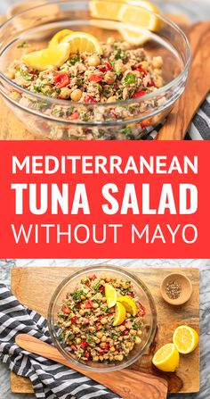 If you're looking for a super simple lunch idea, this Mediterranean chickpea tuna salad recipe is IT! Made without mayo. Quick Healthy Meals, Healthy Eating Recipes, Healthy Foods To Eat, Lunch Recipes, Salad Recipes, Ww Recipes, Diet Foods, Family Recipes, Summer Recipes