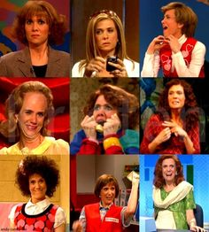 Kristen Wiig! She is absolutely my favorite actor on SNL! and these are some of her best characters!! If you don't watch SNL you should because of her! What an inspiration! (P.S. the characters are Judy Grimes, Californian, Kat, Dooneese, Excited lady, Penelope, Gillie, Target Lady and Mindy Grayson. Yes I did know them off the top of my head. No judging)