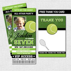TENNIS TICKET INVITATIONS + BONUS THANK YOU CARD (Printable Files) Birthday Party - by nowanorris on Etsy
