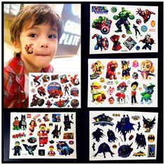 Cartoon Avengers Temporäre Tattoo Jungen Kinder Körper Kunst Superhero Gewerkschaften Hulk Spiderman Tatoo Hündchen Rettungsteam Tattoo Aufkleber