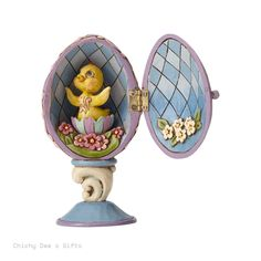 Jim Shore Heartwood Creek Hinged Easter Egg with Chick Inside 4054945