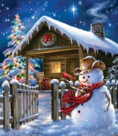 beautiful Christmas scene with a snowman in the foreground