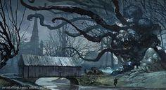 Dunwich legacy a new #arkham. #horror cover, well a part of it ;-) #digitalart #horrorart #lovecraft #dunwich #digitalpainting #art #cardgame #horrorfan #fantasyart #illustration #artist #ffg #artstation #artshare #panorama