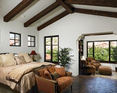 Mediterranean Bedroom Design, brick floors, bed-bench