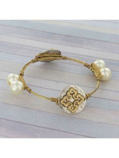Two-Tone and Pearl Cross Wire Bangle