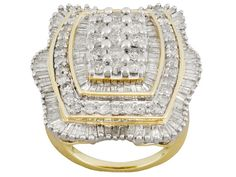 3.00ctw Round and Baguette Diamond 14k Yellow Gold Cluster Ring