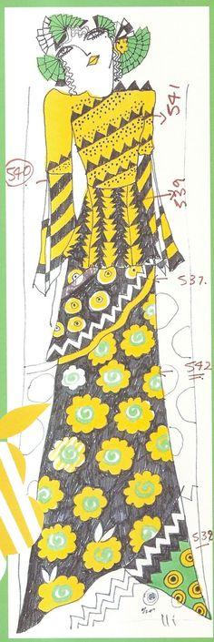 Design by Celia Birtwell Illustration Example, Illustration Art, Fashion Art, Vintage Fashion, Fashion Design, Pattern Design, Print Design, Celia Birtwell, Ossie Clark