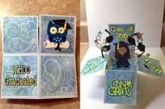 Graduation Box Card I made on Cricut Explore. Cartridges used were Paperdoll Everyday and Create a Critter. Font was Cricut default.