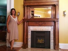 Original Antique 1930s Wood Fireplace Surround with Mirror and ...