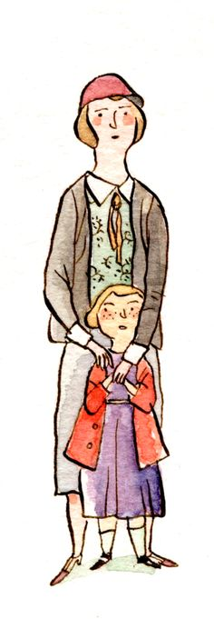 ink and watercolor illustration of mother and daughter during the 1920s, annees folles. Paris