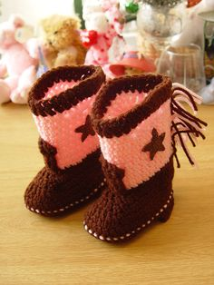 Western Cowboy Cowgirl Baby Booties Boots Crochet Brown and Pink with Brown Stars on Etsy, $19.95