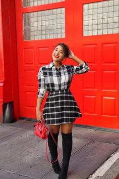 Plaid Mixing! Fall style by Color Me Courtney (@colormecourtney) // How to wear plaid for fall #plaid #overthekneeboots #otkboot #patternmixing #blackandwhite