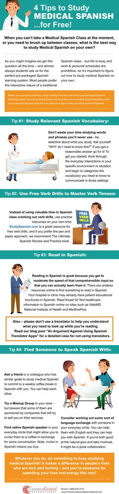 Easy ways to study Medical Spanish for free. See the full blog post at: http://commongroundinternational.com/medical_spanish/4-tips-to-study-medical-spanish/