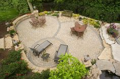 Backyard layout perfect for entertaining.  Outdoor Design Build  Cincinnati, OH