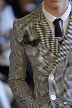 MENSWEAR : Mabille's glenplaid jacket with a peacock butterfly pocket accent