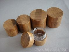bamboo cream jars, cream containers, cosmetic jars