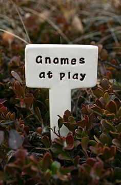 Gnomes At Play - Little Sign Marker Stake for Garden, Plant Pot or Terrarium - Custom Made to Order
