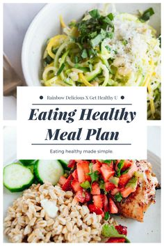 Check out this healthy eating meal plan + grocery list developed by Rainbow Delicious using Get Healthy U recipes! These healthy recipes are not only delicious and healthy, but easy to make and bound to be your new favorite dishes! Healthy Eating Meal Plan, Clean Eating Plans, Healthy Meals For One, Healthy Cooking, Get Healthy, Healthy Dinner Recipes, Whole Food Recipes, Healthy Foods, Easy Recipes