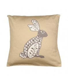 Hare grey and white cushion