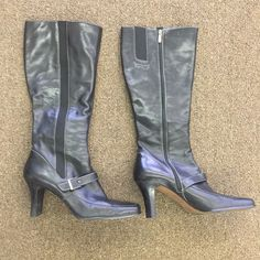 Anne Klein Boots These are gorgeous leather boots! They are 18 inches tall! The heel is 3 inches high! These boots are pre loved but still in great shape! Anne Klein Shoes