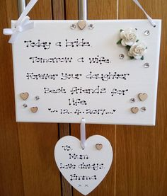 Personalised Wedding Day Thank You Mother of the Bride Daughter Gift Plaque