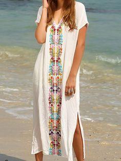 7d457dc5505 JustFashionNow White Women Print Dress V neck Shift Dress Short Sleeve  Embroidered Floral Dress Summer Gowns