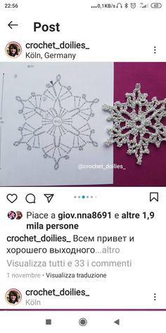 Crochet Snowflake Pattern, Crochet Snowflakes, Crochet Flower Patterns, Crochet Squares, Crochet Flowers, Crochet Diagram, Crochet Motif, Crochet Doilies, Crochet Stitches