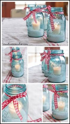 Inexpensive holiday centerpiece, all you need are mason jars, epsom salts, ribbon, and candles. Great decor idea for Christmas or to give as a hostess gift. Easy DIY for last minute decorating.
