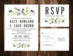Olive Branch Wedding Invitation Suite; Printable; Prints by papernpeonies on Etsy https://www.etsy.com/listing/256472747/olive-branch-wedding-invitation-suite
