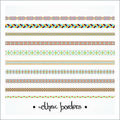 Elegant ethnic seamless borders 04 vector