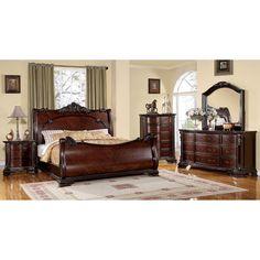 Furniture of America Luxury Brown Cherry 4-Piece Baroque Style Bedroom Set