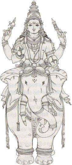 Indra Śakra is the leader of the Devas or gods and the lord of Svargaloka/heaven… Mysore Painting, Tanjore Painting, Krishna Art, Hare Krishna, Krishna Painting, Outline Drawings, Art Drawings, Indian Art Paintings, Hindu Deities