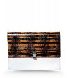 Proenza Schouler Large Wood Print Lunch Bag - Leather Clutch - ShopBAZAAR