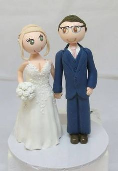 Personalised,handmade, Clay Figurine, Bride & Groom,Wedding Cake Toppers  FREE shipping Worldwide