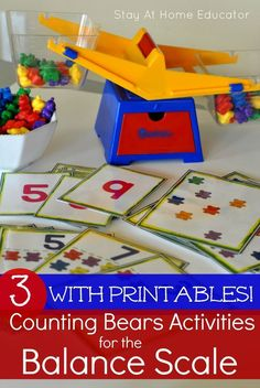 And that is exactly why I created some counting bears printables to pair with my balancing scale. So I could create some concrete and task oriented balancing scale activities that some of my… Bears Preschool, Numbers Preschool, Math Numbers, Preschool Science, Preschool Classroom, Kindergarten Math, Classroom Ideas, Seasonal Classrooms, Teaching Numbers