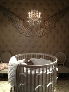 Restoration Hardware Baby, sweet crib & love the wings (wall decor)
