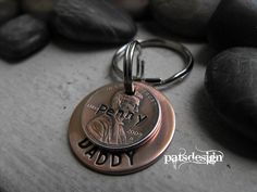 Lucky us  Hero copper Key chain with one  lucky by patsdesign